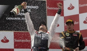 Pastor Maldonado, seen here celebrating after winning his first Formula One event in 2012, will join the Lotus F1 Team in 2014. (Steve Etherington Photo)