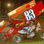 Tim Shaffer works traffic en route to victory at Pennsylvania's Mercer Raceway Park. (Hein Brothers photo)