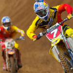 James Stewart overcame the pressure from Ryan Dungey to go 1-1 at Freestone. (Photo: MX Sports)