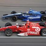 Scott Dixon (9) races Firestone 550 polesitter Alex Tagliani Saturday at Texas Motor Speedway. (Al Steinberg Photo)