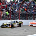 Johnny VanDoorn races away from Scott Hantz to win Saturday's ARCA/CRA Super Series race at Indiana's Winchester Speedway. (Randy Crist photo)