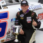 Brennan Poole, seen here in ARCA victory lane at Pocono Raceway last year, made a triumphant return to the ARCA Racing Series Friday at Michigan Int'l Speedway. (ARCA photo)