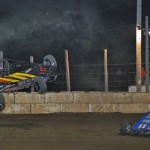 Matt Vandervere takes a wild ride during the USAC sprint car event at Wisconsin's Wilmot Raceway. (Phil Rider photo)