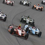 E.J. Viso leads a pack of cars during the Firestone 550 at Texas Motor Speedway. (Photo Courtesy IZOD IndyCar Series)