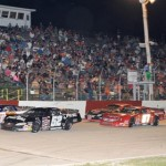 A large crowd watches the parade lap for the ARCA Midwest Tour late models at Grundy County Speedway in Illinois. (Doug Hornickel photo)
