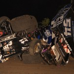 A multi-car crash during ASCS Gulf South competition at Heart O'Texas Speedway in Waco, Texas. (Tom Meredith photo)