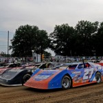 Fastrak late models line up four-wide prior to the start of a feature at Ohio's Expo Speedway at the Trumbull County Fairgrounds. (Joe Secka/JMS Pro photo)
