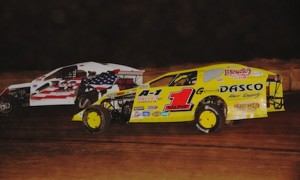 Devin Gilpin (1g) in modified action at Shadyhill Speedway in Indiana in 2012. (Gary Gasper photo)