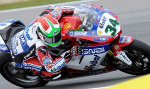 Davide Giugliano's Althea Racing Aprilia was the quickest  in Friday's Qualifying. (Althea Racing Photo)
