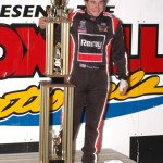 Kraig Kinser and the 2005 Knoxville Nationals trophy. (Mark Funderburk Photo)