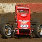 Mike Spencer stands on the gas during the July 4 USAC-CRA sprint car event at California's Perris Auto Speedway. (Doug Allen photo).