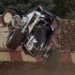 Scott Hatton flips his midget during USAC/Badger midget action at Wisconsin's Angell Park Speedway. (Ken Simon photo)