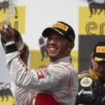 Lewis Hamilton celebrates after winning the Hungarian Grand Prix earlier this year. (Steve Etherington Photo)