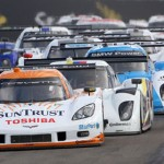 The No. 10 SunTrust Corvette DP shared by Ricky Taylor and Max Angelelli leads the Grand-Am Rolex Sports Car Series field during the start of Saturday's race at Watkins Glen Int'l. (Grand-Am Photo)