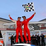 Ryan Dalziel (left) and Lucas Luhr celebrate their victory in the Grand-Am Rolex Sports Car Series race at Watkins Glen (N.Y.) Int'l Saturday. (Grand-Am Photo)