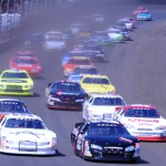 Alex Bowman (22) leads the ARCA Racing Series field into the first turn during Saturday's Allen Crowe 100 at the Illinois State Fairgrounds (Don Figler Photo)