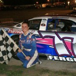 Amanda Ferguson made the trip from Orlando, Fla., to become the first female driver to win a late model feature at Norway Speedway, an ASA Member Track in Norway, Mich., on Friday night. (Frank Smith photo)