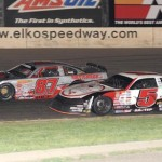 Eventual winner Travis Sauter (5) chases Nathan Haseleu during ASA Midwest Tour competition at Minnesota's Elko Speedway. (Doug Hornickel photo)