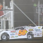 Ryan Missler takes the checkered flag to win the late model season finale at Ohio's Attica Raceway Park. (Action photo)