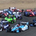 The IZOD IndyCar Series field battles through a turn at Sonoma (Calif.) Raceway in 2012. (Tom Parker Photo)