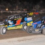 Stewart Friesen (1) and Matt DeLorenzo split twin features on the final night of the regular season at New York's Lebanon Valley Speedway. Friesen won the track championship with eight victories. (Harry Cella photo)