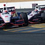 Ryan Briscoe (2) battles teammate Will Power during Sunday's IZOD IndyCar Series race at Sonoma (Calif.) Raceway. (Jerry Jones Photo)