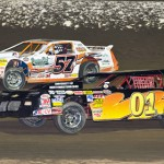 Joel Ortberg (01) and Billy Siferd battle for the lead during the thunderstock feature at Limaland Motorsports Park in Ohio.