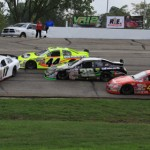 Eventual ARCA Racing Series winner Chris Buescher (17) spins in front of the field during Sunday's Herr's 200 at Wisconsin's Madison Int'l Speedway. (ARCA photo)
