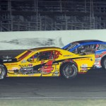 Donny Lia and Todd Szegedy fight for position during NASCAR Whelen Modified Tour action at Thompson (Conn.) Int'l Speedway. (John DaDalt photo)