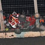 Zach Daum was uninjured in this wild crash during POWRi Midget Series action at Lincoln (Ill.) Speedway. (Phil Rider photo)