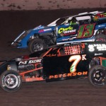 Kris Peterson (7) and Eddie LeMay (13) race for position during modified competition at Wisconsin's Beaver Dam Raceway. (Bob Cruse photo)