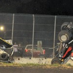 Two sprint cars flip along the wall at Royal Purple Raceway in Baytown, Texas. (Carey Akin photo)