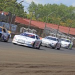 A pack of cars roll down a straightaway during Sunday's ARCA Racing Series Allen Crowe 100 at the Illinois State Fairgrounds. (ARCA Racing Series Photo)