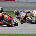 Casey Stoner (1) leads Stephan Bradl (6) and Alvaro Bautista during Sunday's MotoGP event at Indianapolis Motor Speedway. (David E. Heithaus Photo)