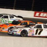 ARCA Racing Series drivers race three wide for position during the Messina Wildlife Animal Stopper 200 at Lucas Oil Raceway at Indianapolis. (ARCA photo)