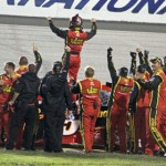 Clint Bowyer celebrates after winning the Federated Auto Parts 400 on Saturday at Richmond (Va.) Int'l Raceway. (HHP/Alan Marler Photo)