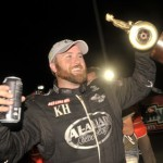 Shawn Langdon celebrates after winning his first NHRA Top Fuel Wally Sept. 16 at zMAX Dragway in Concord, N.C. (NHRA Photo)