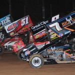 Dale Blaney (2), Paul McMahan (51), Joey Saldana and Craig Dollansky (7) on the four-wide World of Outlaws parade lap at Pennsylvania's Lernerville Speedway. (Julia Johnson photo)