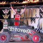 Kyle Larson celebrates after winning the USAC Mopar National Midget Series portion of the 4-Crown Nationals at Eldora Speedway. (Hein Brothers Photo)