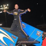 Ray Allen Kulhanek celebrates victory in the ASCS Gulf South event at Golden Triangle Raceway Park in Texas Sunday night. (Ron Skinner photo)