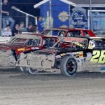 Street stocks fight for position at Bubba Raceway Park in Ocala, Fla. (R.E. Wing photo)