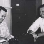 Chris Economaki shares a laugh with Bob Swanson in the old Ridgewood, N.J., National Speed Sport News office. (NSSN Archives Photo)