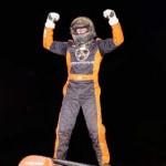 Coleman Gulick celebrates after winning Sunday night's sprint car feature at Indiana's Kokomo Speedway. (Gary Gasper photo)