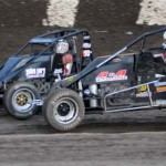 Rip Williams (3) slides in front of Ryan Bernal at Calistoga Speedway. (Tom Parker Photo)