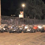 The AMSOIL USAC/CRA Sprint Car Series field salutes the fans at Calistoga (Calif.) Speedway. (Tom Parker Photo)