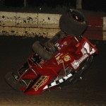 Former Indianapolis 500 racer Jimmy Kite gets upside down during the MOWA sprint car race at Jacksonville (Ill.) Raceway. (Mark Funderburk photo)