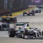 Nico Rosberg leads his Mercedes teammate Michael Schumacher during the Singapore Grand Prix. (Steve Etherington Photo)