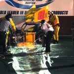 The supermodified main event at California's Madera Speedway was called off at the midway point after this fire created a mess on the track. It took officials a long time to put out the alcohol fire. (Dennis Mattish photo)