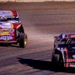 Modifieds tussle for position during USMTS modified competition at Minnesota's Oglivie Raceway. (Bruce Nuttleman photo)