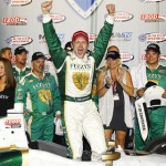 Ed Carpenter celebrates after winning the IZOD IndyCar Series MAVTV 500 at Auto Club Speedway. (Photo Courtesy IZOD IndyCar Series)